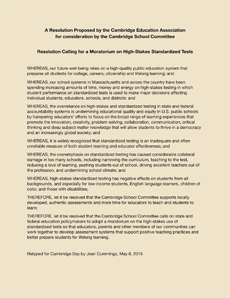 """Teachers asked the School Committee to join a resolution calling for a moratorium on """"high-stakes standardized tests.""""  Click to see the document."""